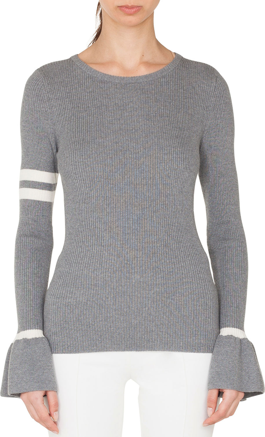 Akris Punto - Crewneck Striped Long-Sleeve Wool Knit Pullover Sweater