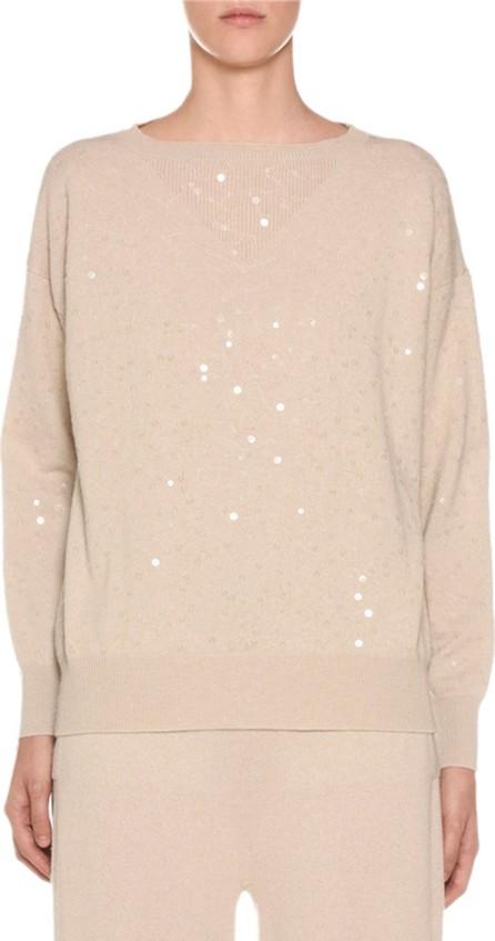 Agnona Sequined-Cashmere Crewneck Sweater