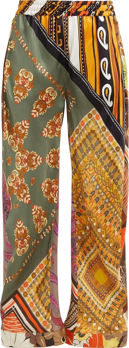 Chloe Caravan-print silk trousers