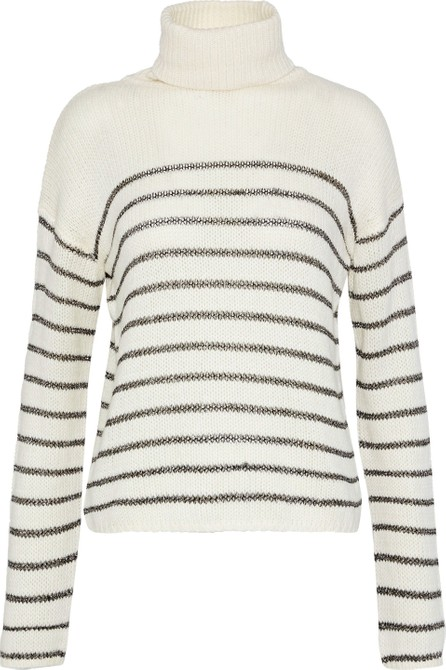 A.L.C. Elisa metallic striped knitted turtleneck sweater