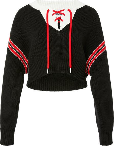 Monse Lace-Up Cropped Cotton Sweater