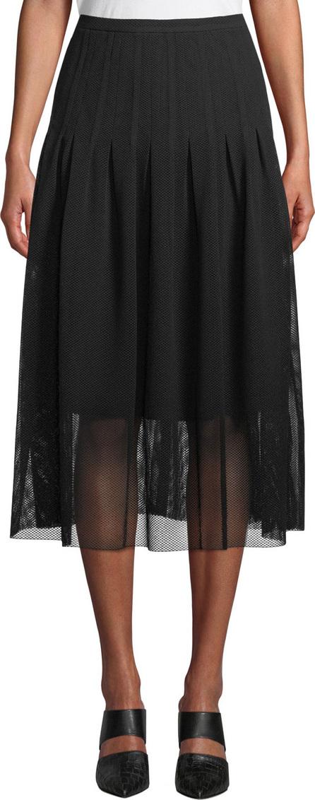 Akris Punto Partial-Lined Mesh Godet Midi Skirt