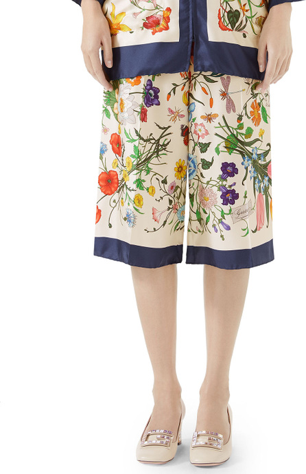 Gucci Floral-Print Silk Twill Cropped Pajama Culottes