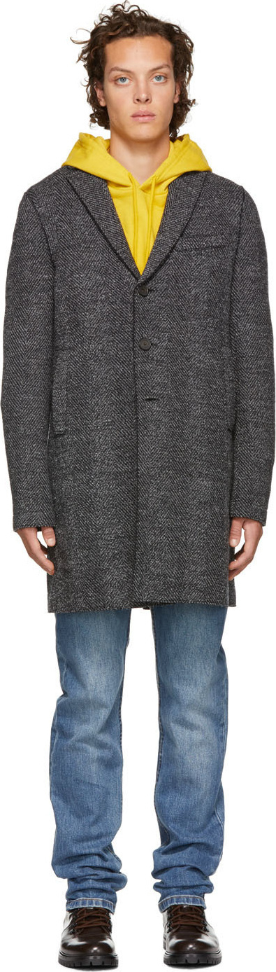 Harris Wharf London Grey Herringbone Heavy Overcoat