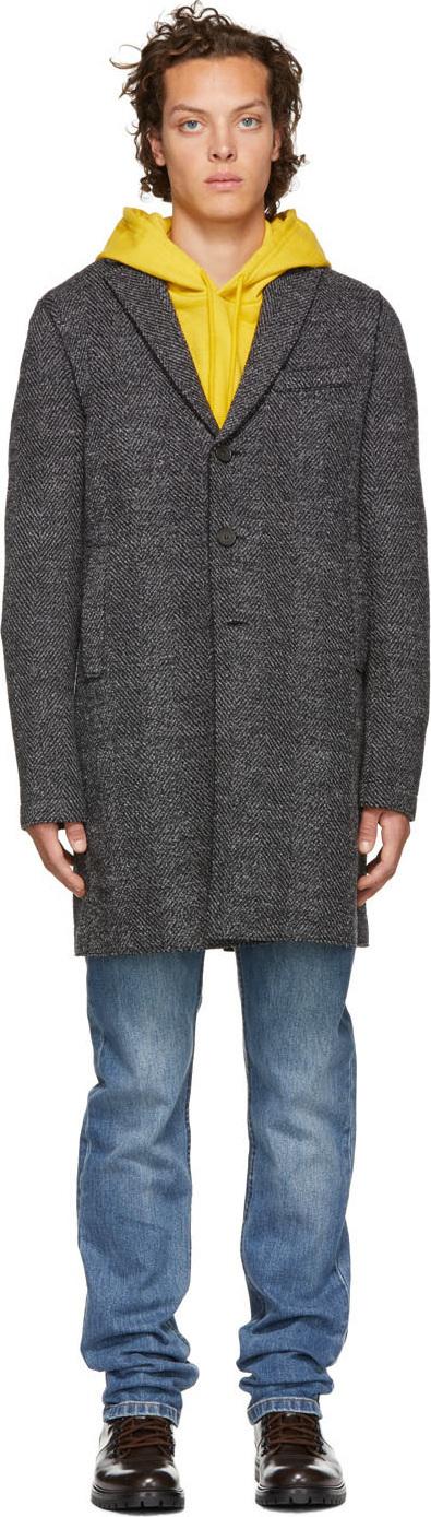 Harris Wharf London Grey Herringbone Heavy Overcoat