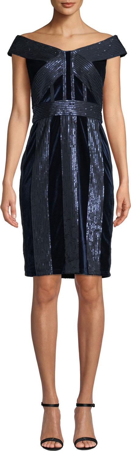 Tadashi Shoji Off-the-Shoulder Velvet & Sequin Cocktail Dress