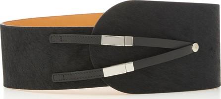 Maison Vaincourt Leather-Trimmed Calf-Hair Belt