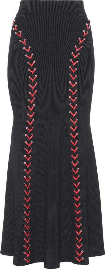 Alexander McQueen Leather-trimmed wool-blend skirt
