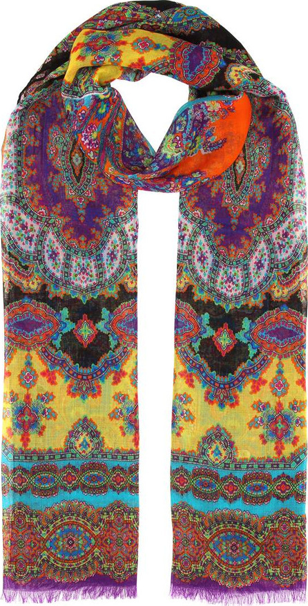 Paisley-printed cashmere scarf