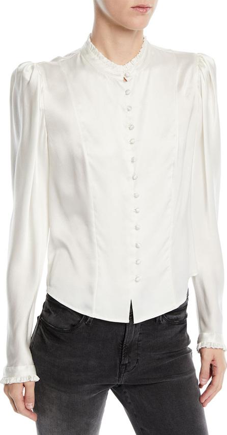 FRAME DENIM Victorian Pouf-Shoulder Button-Front Long-Sleeve Silk Blouse