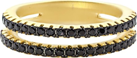 Freida Rothman Pave Black CZ Stones Two-Row Band Ring
