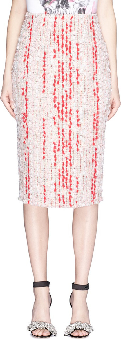Alexander McQueen Colourblock fil coupé tweed skirt