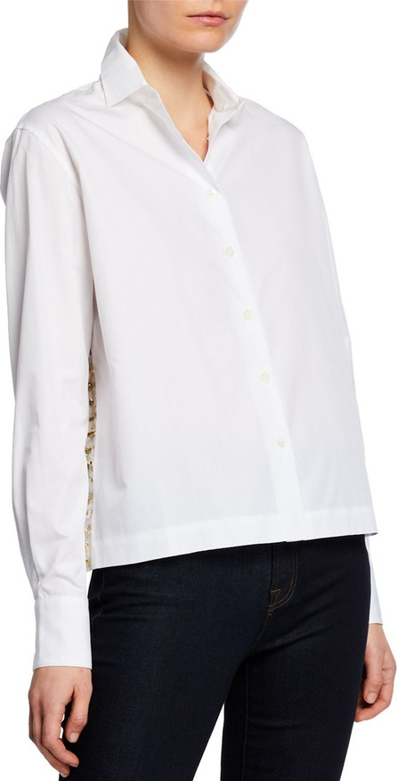 Anaïs Jourden Draped Button-Up Blouse with Confetti Details