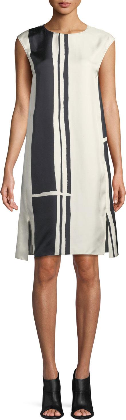 Theory Striped Silk Cap-Sleeve Sheath Dress