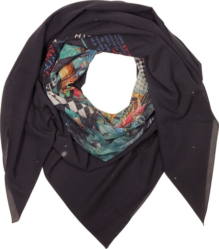 Balmain Black Cotton Printed Oversized Scarf