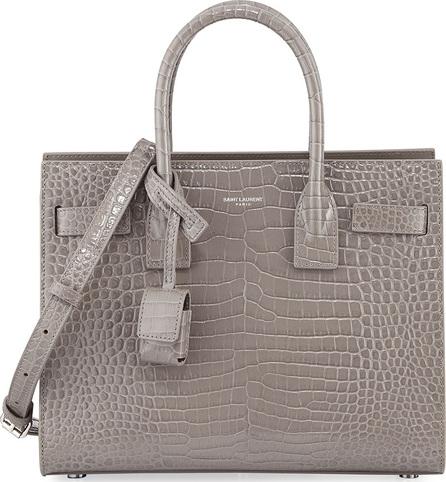 Saint Laurent Sac de Jour Baby Crocodile-Embossed Leather Satchel Bag