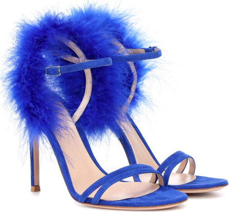Gianvito Rossi Thais feather-trimmed suede sandals