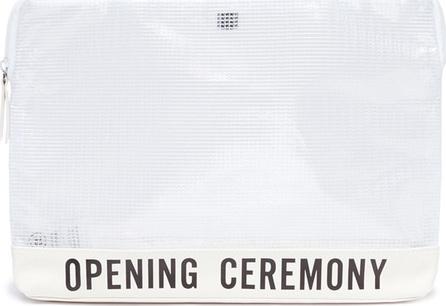 Opening Ceremony Logo print nylon mesh clutch