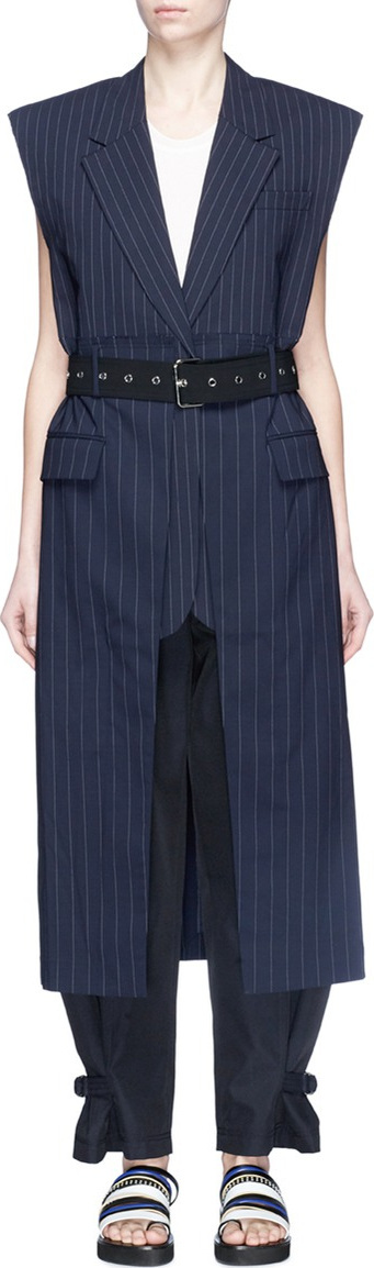 3.1 Phillip Lim Belted pinstripe virgin wool long vest