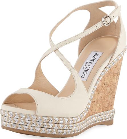 Jimmy Choo Dakota Wedge Espadrille Sandals, Off White