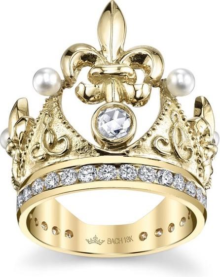 Cynthia Bach 18k Fleur-de-Lis Diamond & Pearl Crown Ring
