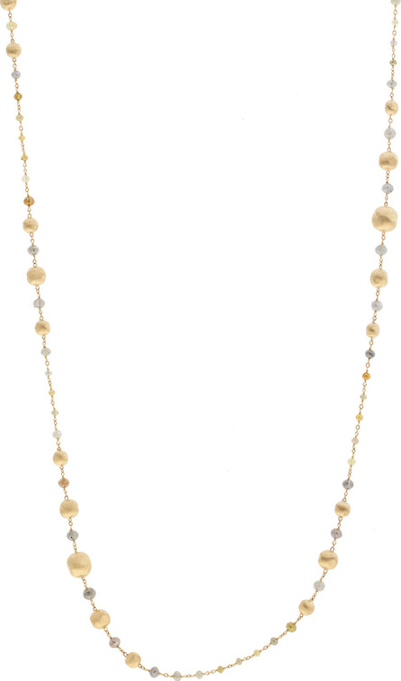 "Marco Bicego Unico Africa Beaded Necklace with Rough Diamonds, 36"" (29.64ct)"