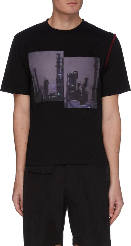 THE WORLD IS YOUR OYSTER Contrast stitching graphic print T-shirt