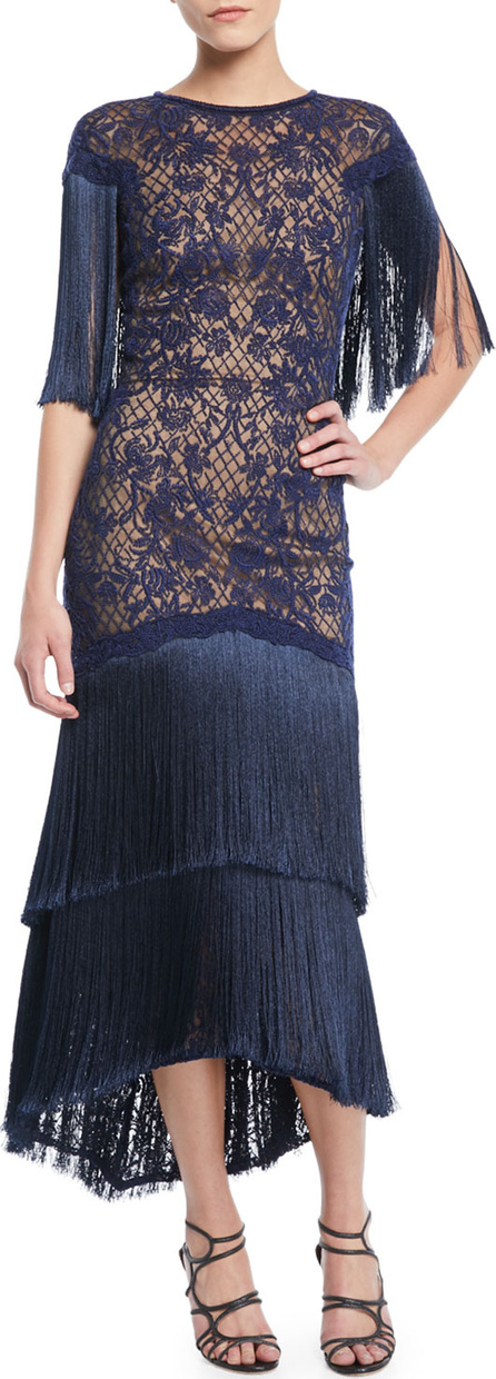 Tadashi Shoji Frink Corded Lace Capelet Gown