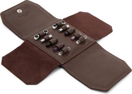 Lorenzi Milano Rhodium-Plated Cufflinks Set with Full-Grain Leather Case