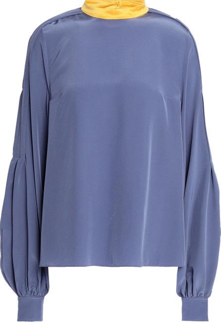 Roksanda Satin-trimmed gathered silk crepe de chine blouse