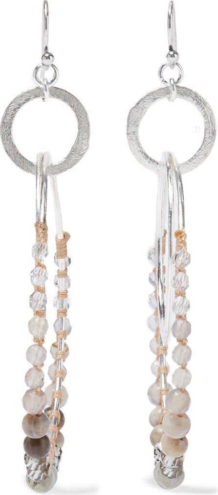 Chan Luu Silver-tone, multi-stone and cord hoop earrings
