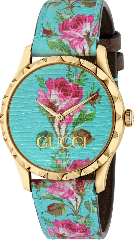 Gucci 38mm G-Timeless Blooms Leather Watch, Gold/Aqua
