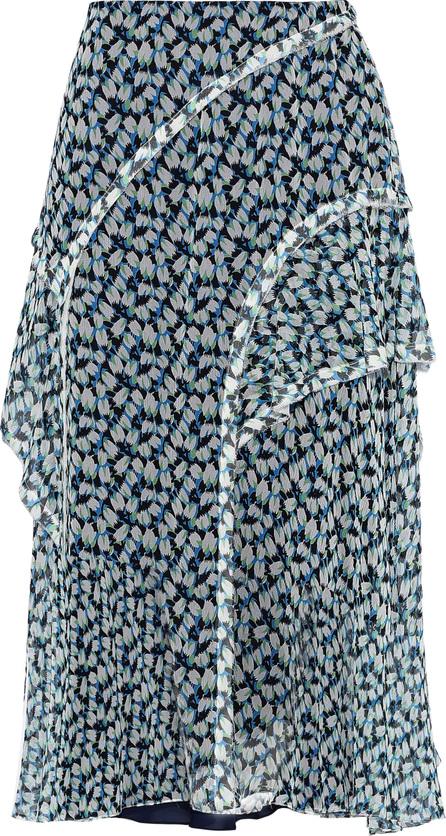 Jason Wu Ruffle-trimmed printed silk-georgette skirt