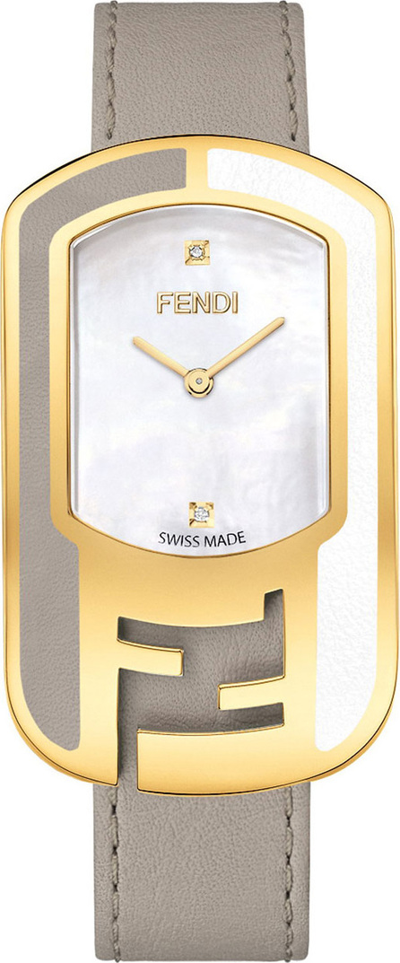 Fendi Mother-of-Pearl Watch with Leather Strap