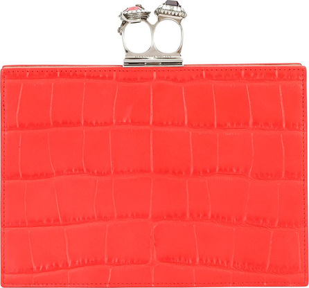Alexander McQueen Jeweled Double Ring Crocodile-Embossed Clutch Bag - Silvertone Hardware