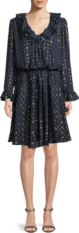 Tory Burch Jasmine Metallic-Stripe Dress