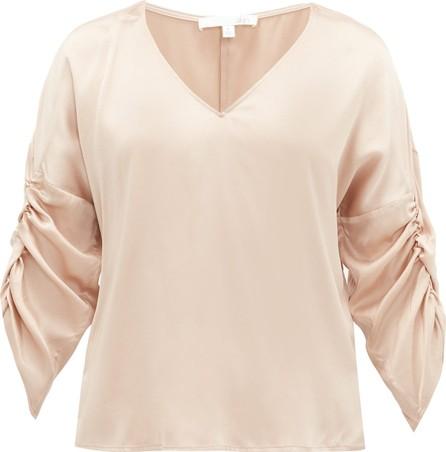 SKIN Therese gathered silk-blend habotai pyjama top