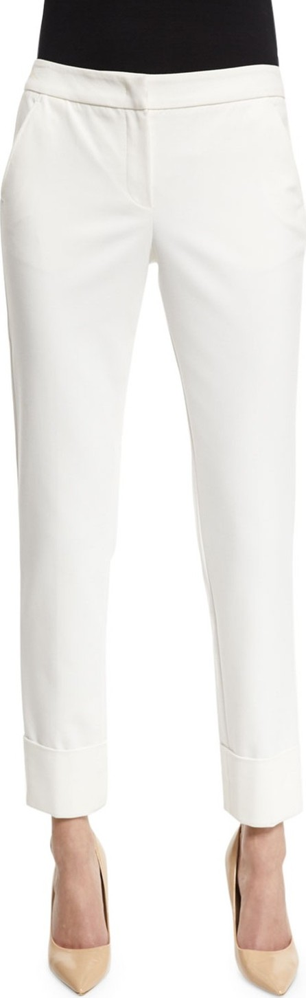 Armani Collezioni Stretch-Cuff Slim-Leg Ankle Pants, White