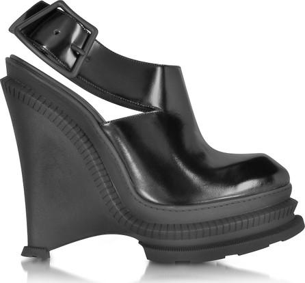 KENZO Black Leather High Wedge Sandal