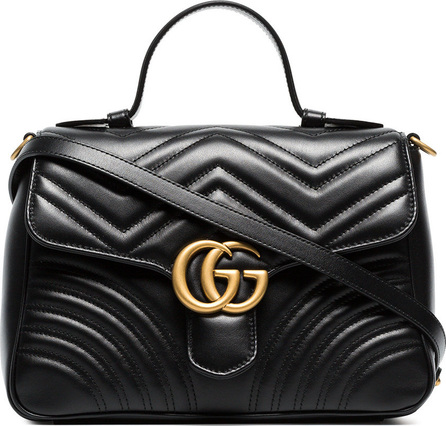 Gucci Black GG marmont large leather top handle bag