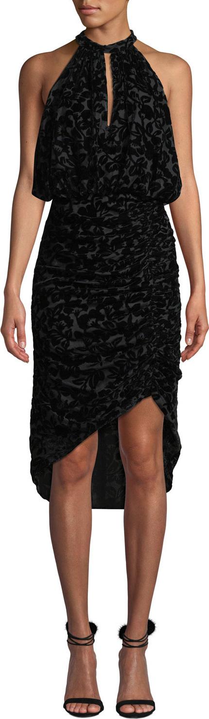 ML Monique Lhuillier Velvet Burnout Halter Dress w/ Ruching