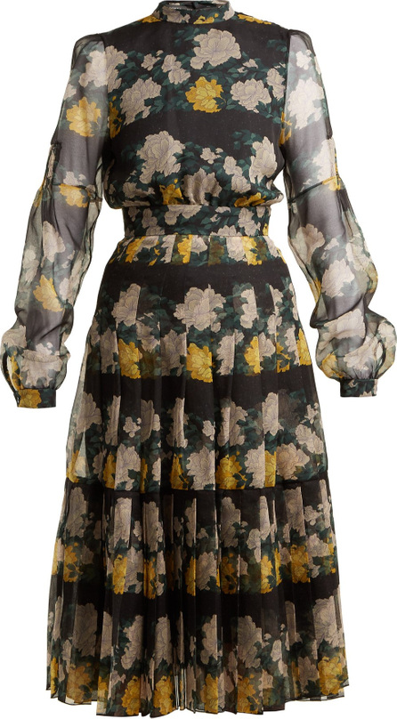ROCHAS Floral-print pleated silk-organza midi dress