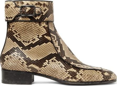 Saint Laurent Miles Leather-Trimmed Python Boots