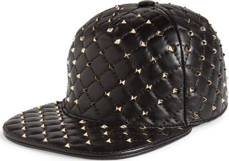 Valentino Rockstud Spike Leather Baseball Cap