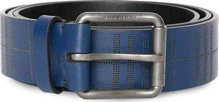 Burberry London England Perforated Check Leather Belt