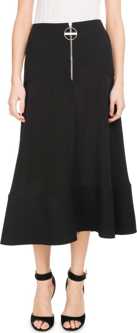 Givenchy A-Line Crepe de Chine Mid-Calf Circle Skirt