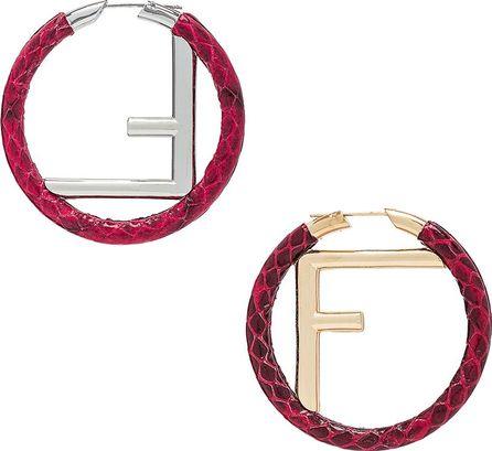 Fendi FF Snakeskin Hoop Earrings