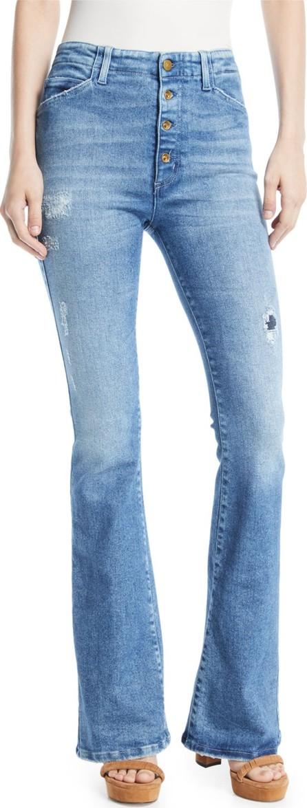 Acynetic Friya Sharon Gene Mid-Rise Flare-Leg Jeans with Exposed Fly