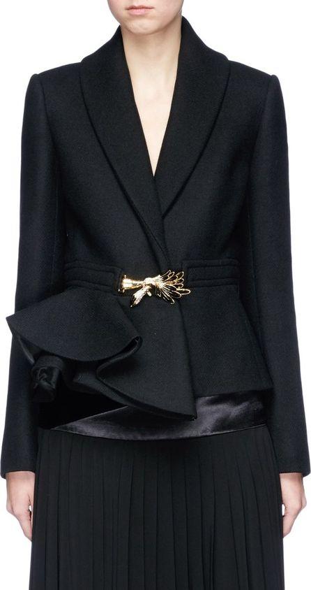 Lanvin Jewelled brooch herringbone peplum coat