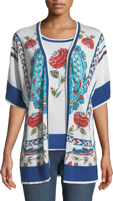Escada Open-Front Short-Sleeve Floral-Print Cardigan